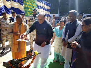Union Home Minister Rajnath Singh performs worship of arms during his visit to ITBP border out post (BoP), in Joshimath on Saturday.