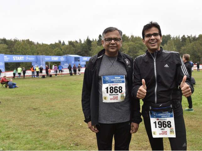 N Chandrasekaran and Amit Bajaj at the Lidingöloppet run in Sweden.