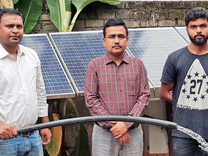 Professor Saroj Nayak of IIT Bhubaneswar (centre) with his PhD student Suraj Kumar (right) worked on the small solar pump for farmers while Pradeep Rout (left), a former student of IIT Bhubaneswar, is now a consultant at Karma.