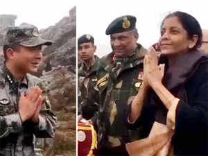 Video released by the Indian Defence Ministry shows that Nirmala Sitharaman acknowledged the soldiers with a traditional namaste greeting.