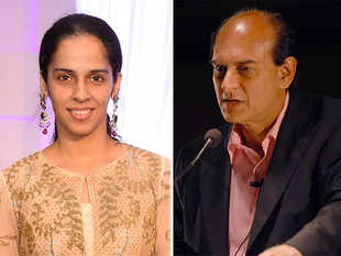 Harsh Mariwala (right) and Saina Nehwal (left).
