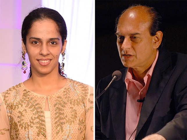 Harsh Mariwala (right) and Saina Nehwal (left).