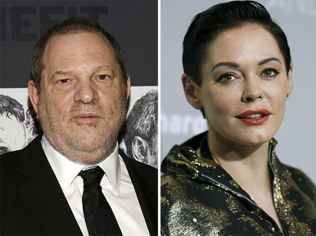 Rose McGowan (right) and Harvey Weinstein (left).