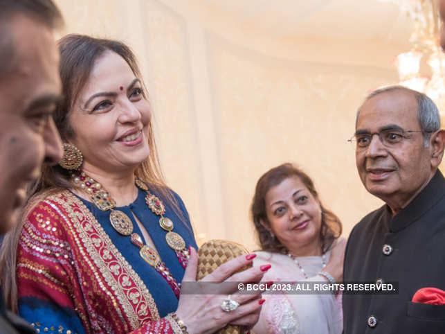Mukesh and Nita Ambani with Harsha Hinduja and GP Hinduja