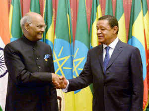 President Ram Nath Kovind and his Ethiopian counterpart Mulatu Teshome at a meeting at the Presidential Palace in Addis Ababa. (File photo)