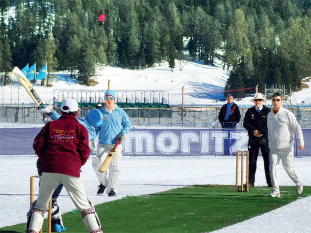 Players rough it out at the international ice-cricket tournament on Lake St Moritz