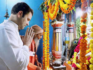 Rahul Gandhi during a visit to Vir Meghmaya temple in Patan on Monday.