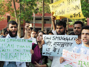 The incident, which came months after the lynching of dairy farmer Pehlu Khan by suspected cow vigilantes in Alwar, triggered an outrage. (In pic: Students protesting against lynching in the name of cow vigilantism)
