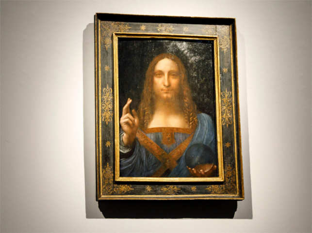 A painting entitled'Salvator Mundi by Leonardo da Vinci at