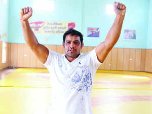 All eyes were on Sushil today and India's greatest individual Olympian hardly had to break sweat as India international Parveen Rana decided to concede his bout against the 34-year-old.