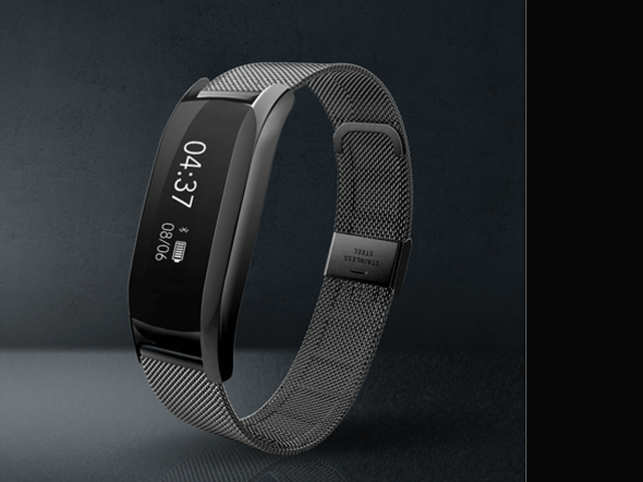 The OLED display on the band shows time, date, battery level, steps taken, distance travelled, calories burned and notifies you of incoming calls and messages.