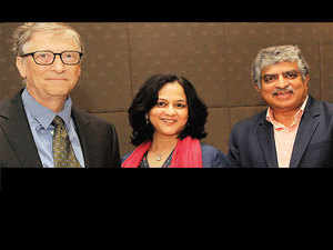 Bill Gates with Rohini Nilekani and Nandan Nilekani