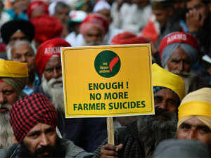 Farmers at a protest in New Delhi on November 21, 2017. Hundreds of farmers are gathering in the capital to demand farming loans be waived.