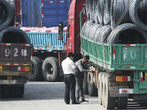 Chinese custom officials inspect trucks loaded with goods to and from North Korea in Dandong in northeast China's Liaoning province.