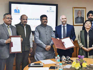 A tripartite MoU being signed between NSDC, Tourism and Hospitality Sector Skill Council and Airbnb to Upskill Hospitality Entrepreneurs in the presence of the The Union Minister for Petroleum & Natural Gas and Skill Development & Entrepreneurship, Dharmendra Pradhan, in New Delhi on Tuesday.