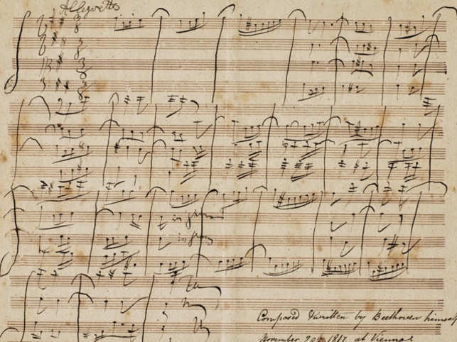"In 2016, Sotheby's had a manuscript by Ludwig van Beethoven up for auction. The single-page manuscript was described as the ""Autograph manuscript of the 'Allegretto' in B minor for string quartet (WoO 210), composed for an English visitor to Vienna in 1817"". It has the words ""composed and written by Beethoven himself November 29, 1817 at Vienna"" inscribed on it. The manuscript was expected to fetch about 200,000 pounds. The auction house made a statement that there were no takers because of a Beethoven scholar's claim that the manuscript was not authentic.  Image: Sotheby's"