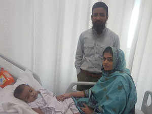 Karachi's Shiraz Ahmed with his wife Hira and 15-month old daughter Shireen after her heart surgery.