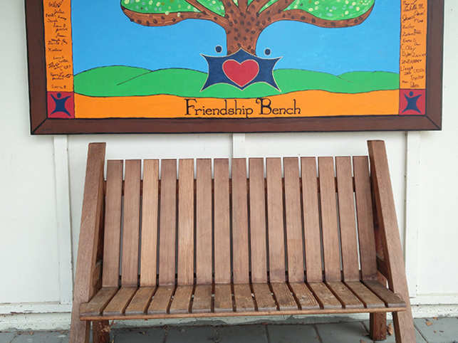 A friendship bench allows strangers to talk with no baggage. It allows the  gift of