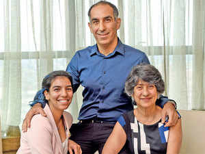 Sterling and Wilson managing director Khurshed Daruvala with mother Zarine, chairperson, and daughter Delna, who's in training