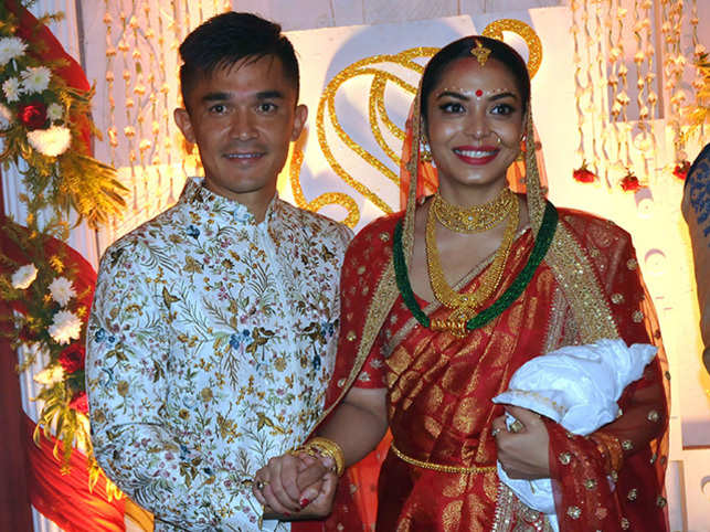 The Indian football skipper tied the knot with his long-time girlfriend Sonam Bhattacharya in Kolkata.
