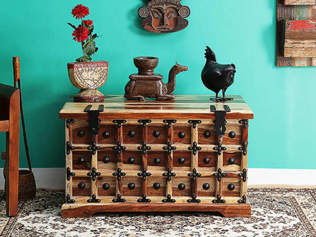 Avant garde trunks are an excellent way to create storage space while adding character to the room.