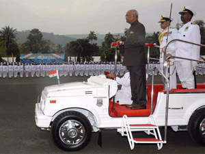 He also inspected a guard of honour at the INS Circars Parade Ground.