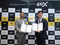 4DX technology uses innovative features such as moving seats and environmental effects. (In pic:  Cho, Jung Hoon (left), COO,  4DPLEX and  Gautam Dutta, CEO at PVR)