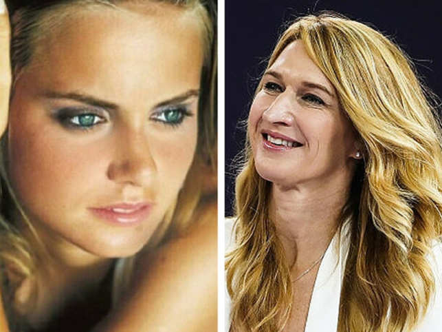 On the left, Jelena Dokic and right, Steffi Graf.