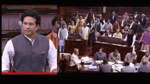 Congress MPs disrupt Sachin Tendulkar's speech in Rajya Sabha