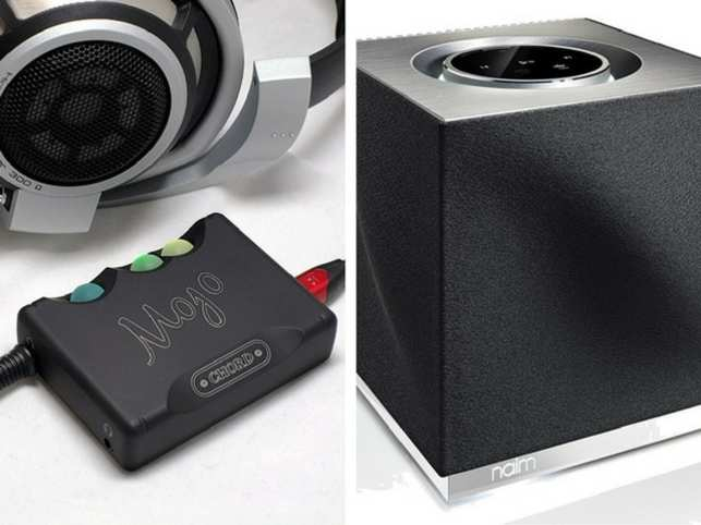 On the left, Chord Mojo DAC, and on the right,  Mu-So Qb.