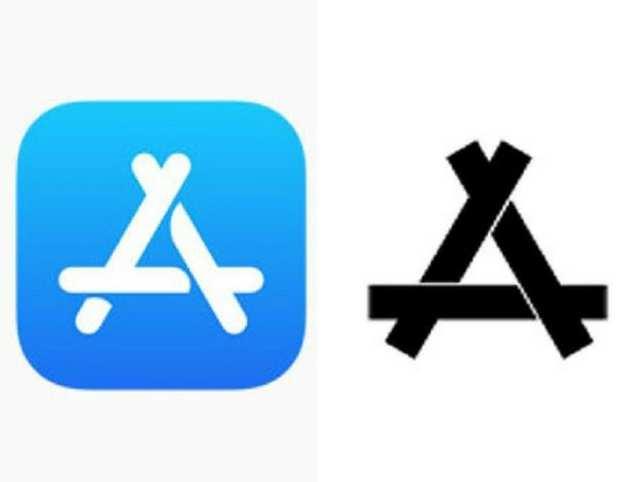 Apple App Store logo (left) and Kon logo.