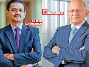 TCS CEO Rajesh Gopinath and N G Subramaniam, COO at TCS