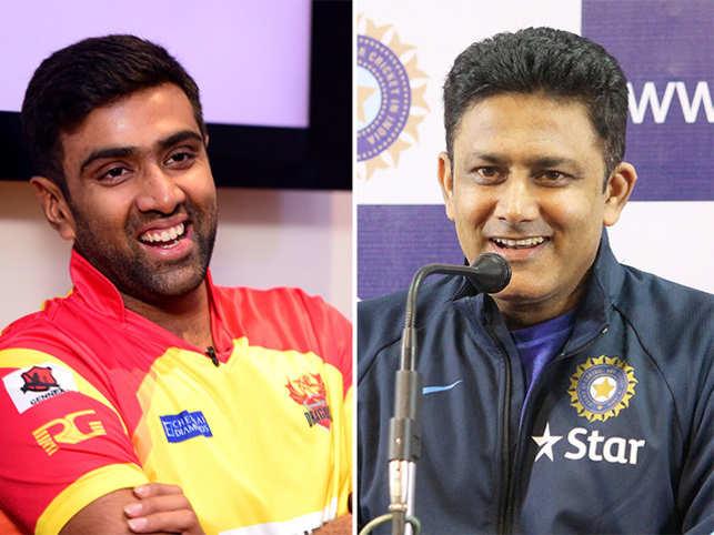 Anil Kumble (right) and R Ashwin (left)