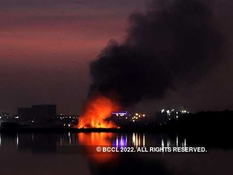 Fire at Bellandur lake
