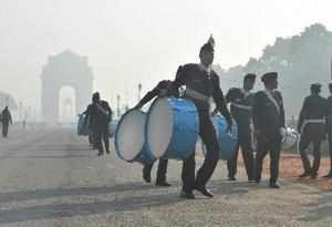 New Delhi: Navy band personnel during rehearsals ahead of the Republic Day parad...