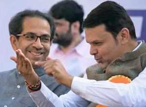 Mumbai: Maharashtra Chief Minister Devendra Fadnavis and Shiv Sena Executive Pre...