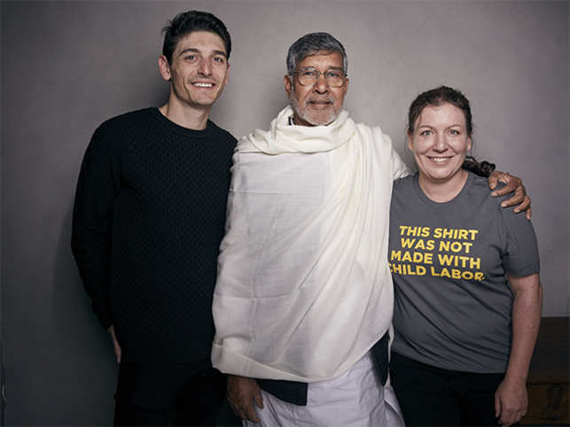 Director Derek Doneen, Kailash Satyarthi and producer Sarah Anthony at the Music Lodge during the Sundance Film.
