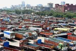 Navi Mumbai: Trucks are seen parked during truck operators strike over GST (Good...