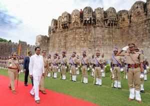 Hyderabad: Telangana Chief Minister K Chandrasekhar Rao reviewing parade during ...