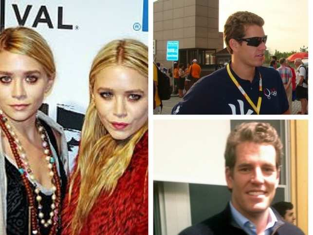 Cameron & Tyler Winklevoss (right) to Mary-Kate and Ashley Olsen (left).