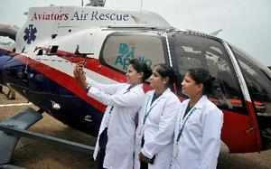 Chennai: Apollo Hospitals' staff at the launch of air ambulance service in assoc...