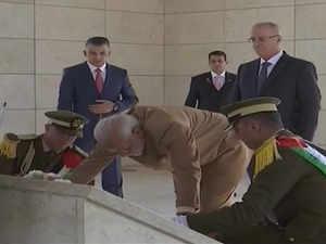 Visuals: PM Modi lands in Ramallah, pays tribute at Yasser Arafat's memorial