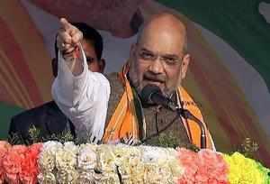 Khowai: BJP National President Amit Shah addresses a public meeting in Khowai, T...