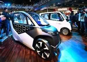 Greater Noida: Mahindra & Mahindra's electric vehicles on display at the compan...
