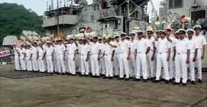 Visakhapatnam: Indian Navy personnel welcome Sri Lanka Navy ships arrive at Visa...