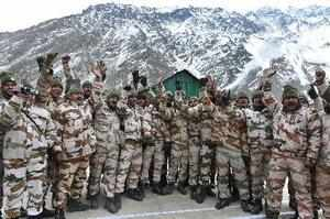 Uttarkashi : ITBP personnel after a meeting with the Union Home Minister Rajnath...