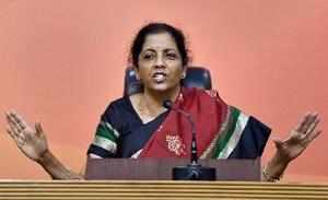 New Delhi: BJP leader and Defence Minister Nirmala Sitharaman addresses a press ...