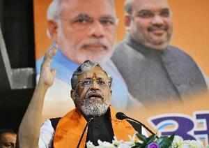 Patna: Bihar Deputy Chief Minister Sushil Kumar Modi addresses during 'Abhar Sam...