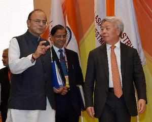 New Delhi: Union Finance Minister Arun Jaitley and AIIB President Jin Liqun spea...