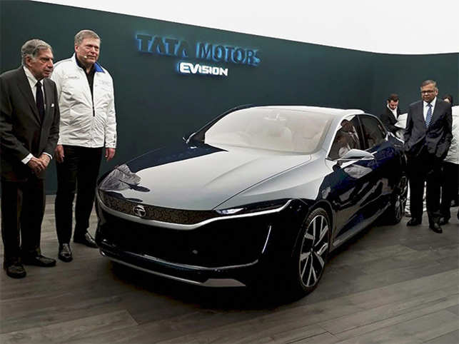 Tata Motors unveiled a series of cars at the Geneva Motor Show this year. Here: Tata Group's Chairperson Emeritus Ratan N. Tata (far L) and Tata Sons Chairperson (R) N Chandrasekaran unveil the electric concept vehicle.